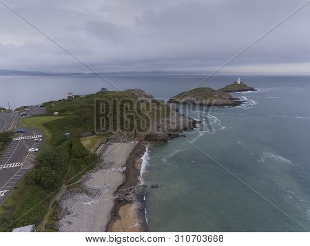 Editorial Swansea, Uk - June 17, 2019: Aerial View Of The Award Winning Bracelet Bay And Mumbles Lig