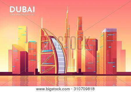 Dubai, Uae City View. Cityscape Architecture Background, Modern Megapolis Skyline With Futuristic Bu