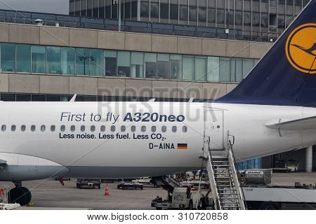 Frankfurt Am Main, Germany - April 28, 2019: Lufthansa Airbus A320neo With Lettering