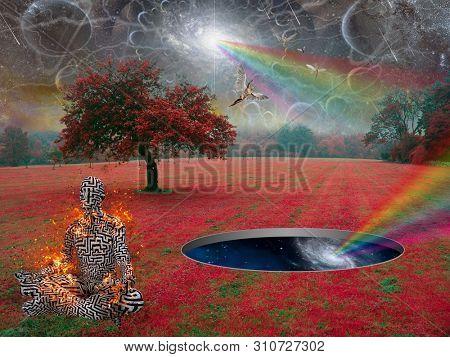 Spiritual composition. Deep Zen. Man meditates in lotus pose in surreal landscape. Angels soars in the sky. 3D rendering