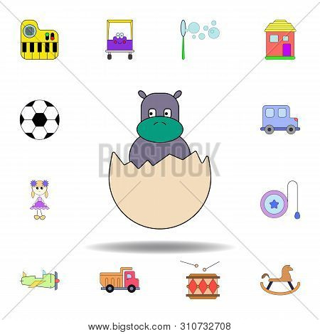 Cartoon Hatchling Egg Toy Colored Icon. Set Of Children Toys Illustration Icons. Signs, Symbols Can