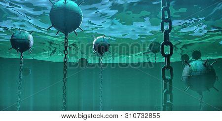 Naval Underwater Mines Bombs Floating Underwater In The Ocean. Hidden Danger High Risk Concept 3d Re