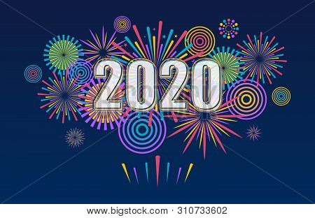 2020 New Year Banner With Fireworks. Vector Fireworks Background.