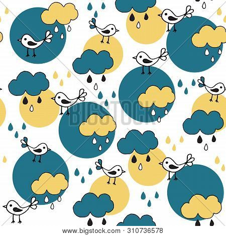 Cute Seamless Pattern With Cartoon Birds And Clouds On White Background.