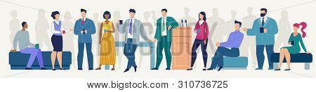 Informal Conversation On Seminar, Timeout Or Coffee Break During Business Meeting Flat Vector Concep