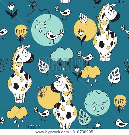 Cute Seamless Pattern With Tropical Animals On Blue Background. Giraffe And Birds In The Jungle.