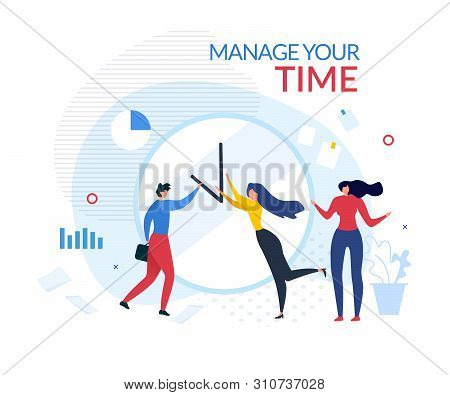 Manage Your Time Motivation Cartoon Banner. Man And Woman Tries Change Arrows Location On Huge Offic