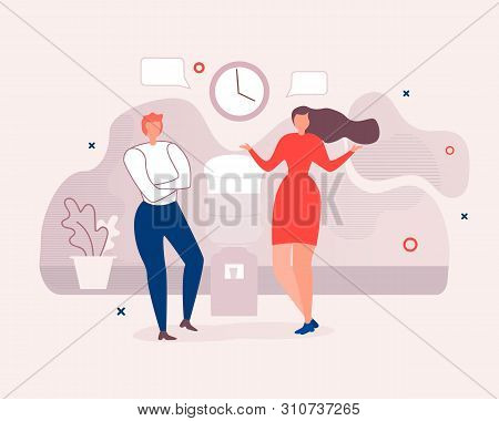 Two Diverse Office Workers Informal Conversation. Flat Cartoon Faceless Man And Woman Characters Sta