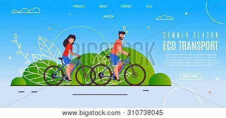 Young Couple Opened Summer Season Eco Transport. Bearded Man And Smiling Girl Riding Bike In Park. E