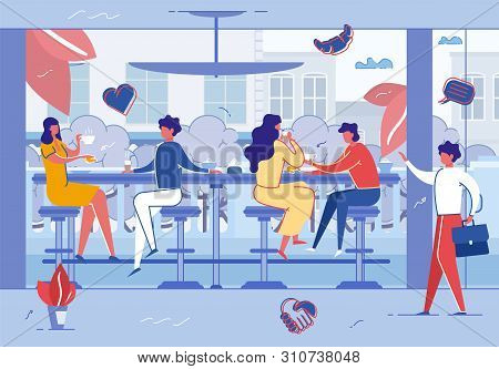 People Relaxing In Cafe Or Coffee Shop. Modern Place Interior To Meet, Drink And Eat, Chat, Have Res