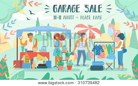 Advertising Poster Inscription Garage Sale Flat. Man Put On Market Unnecessary Things In His Yard. B
