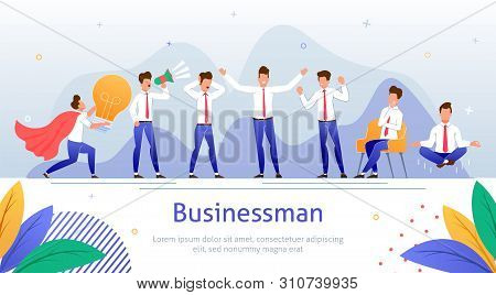 Successful Businessman Flat Vector Banner Template With Office Worker, Company Employee, Business Le