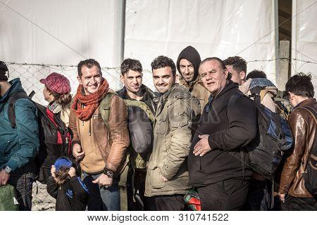 Gevgelija, Macedonia - December 13, 2015  Refugees Waiting To Enter Macedonia From The City Of Eidom