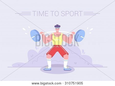 A Strong Tense Athlete Raises A Heavy Barbell. Healthy Lifestyle Sport Activities Character Workout