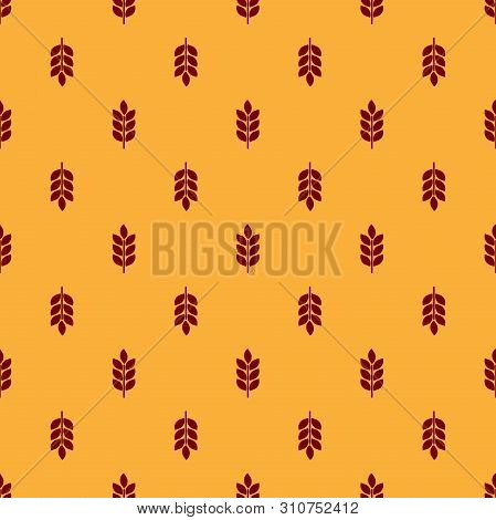 Red Cereals Icon Set With Rice, Wheat, Corn, Oats, Rye, Barley Sign Seamless Pattern On Brown Backgr