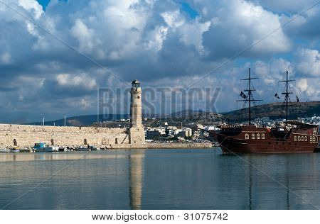 View Of Lighthouse In The Venetian Harbor Of Rethymnon
