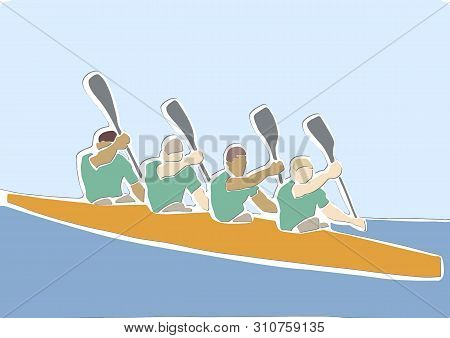 Academic Canoe Rowing. Team Of Four Male Rowers. Abstract Canoeing Sport. Applique Or Paper Cut Styl