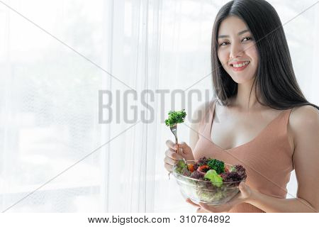 Beautiful Beauty Woman Asian Cute Girl Feel Happy Eating Diet Food Fresh Salad For Good Health In Th