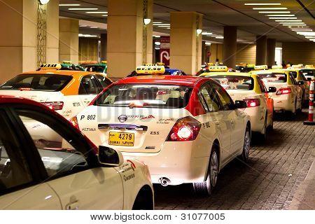 Busy taxi rank in Dubai UAE