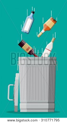 Alcohol Abuse Concept. Various Bottles With Booze And Trash Bin. Stop Alcoholism. Rejection. Vector