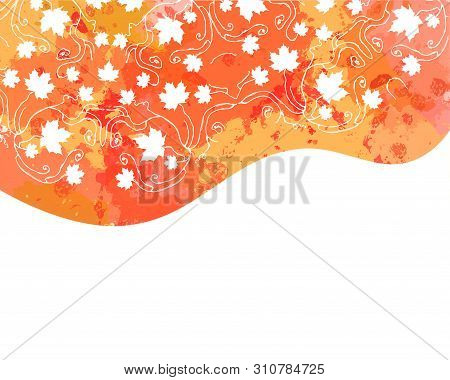 Watercolor Vector Autumn Abstract Background. Watercolor Splash Background With Leaves. Watercolor I