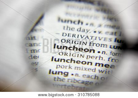 The Word Or Phrase Luncheon In A Dictionary