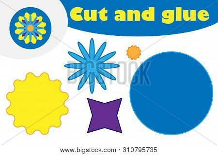 Mandala In Cartoon Style, Education Game For The Development Of Preschool Children, Use Scissors And