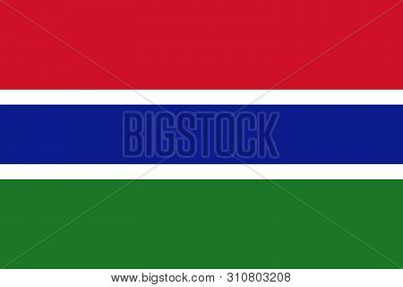 National Flag Of Gambia  In The Original Colours And Proportions