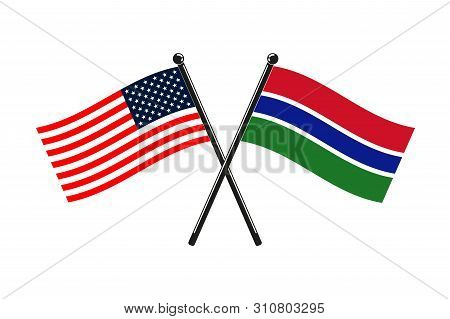 National Flags Of Gambia And Usa Crossed On The Sticks In The Original Colours