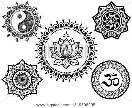 Set Of Circular Patterns In Form Of Mandala With Religious Symbols. Oriental Signs Om, Yin-yang, Lot