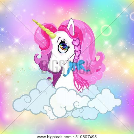 Unicorn Head With Pink Mane Portrait On Bright Rainbow Kawaii Universe Space Or Sky Holographic Back
