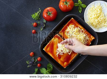 Recipe For Homemade Italian Lasagna With Tomato Sauce And Meat. Phased Recipe. Cooking Lasagna. Spri