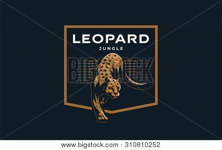 Wild Cat. A Puma Or Leopard Licks Its Cub. Vector Illustration.