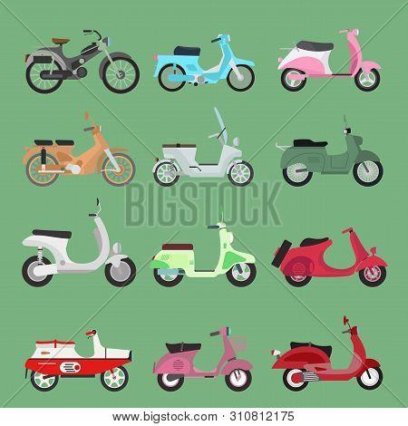Vintage Retro Bike Scooters Old Fashioned Style Motorbike. Retro Motor Reca And Street Travel Transp