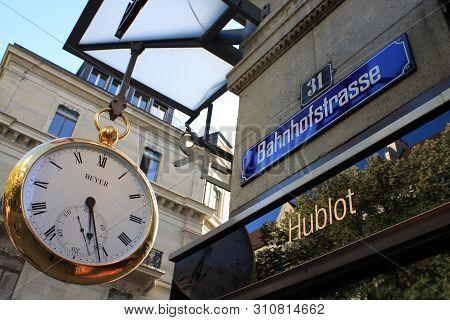 Zurich, Switzerland,  May 4 2019: Beyer Watches On Jewellery Street In Bahnhofstrasse - Zurich, Swit