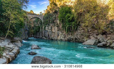 Antalya, Turkey - March 2019: Oluk Bridge Across Kopru Irmagi Creek In Koprulu Kanyon National Park