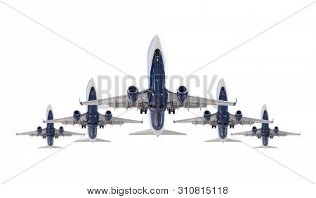 Five Passenger Airplanes In Formation Isolated on a White Background.