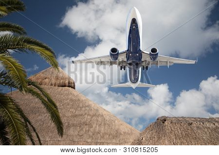 Bottom View of Passenger Airplane Flying Over Tropical Palm Trees and Huts.