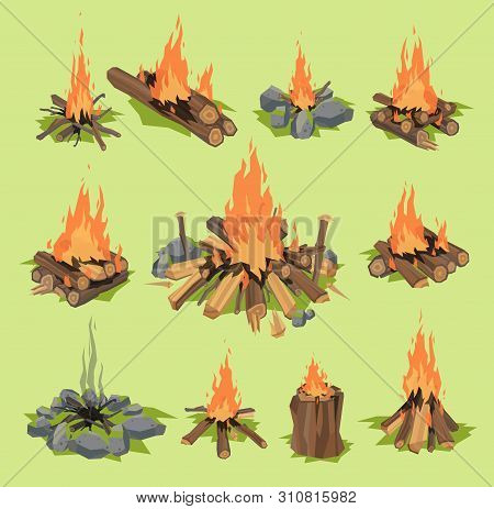 Fire flame or firewood outdoor travel bonfire fired flaming fireplace and flammable campfire illustration fiery or flamy forest set with wildfire isolated on background poster
