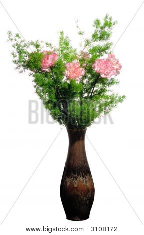 A Vase With  Flowers Isolated