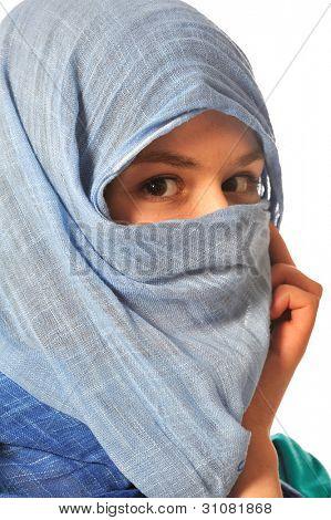 portrait of  eastern woman in veil