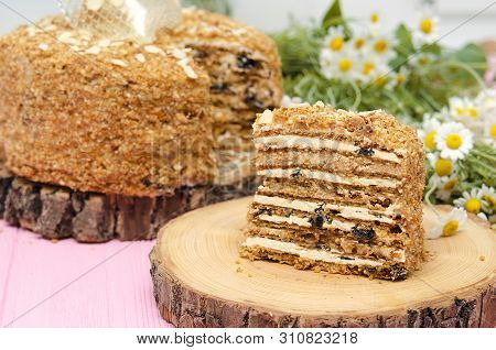 Honey Cake With Prunes. Piece Of Cake. Homemade Cake With Flower Background. Sweet Dessert. Sweet Ca