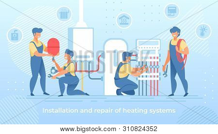 Group Of Masters Make Installation And Repair Of Electric Heating System At Home. Workers Handymen I