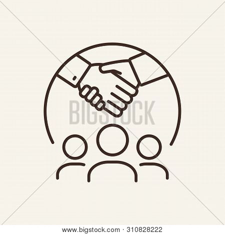 Business Meeting Line Icon. Handshake, Business Partners, Communication. Business Concept. Vector Il