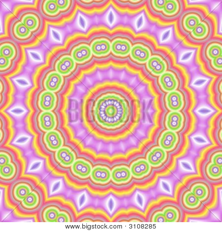 kaleidoscopic popart colors soft pastel tones and circular shape poster