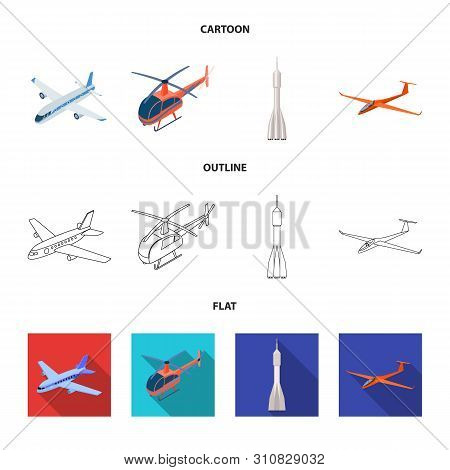 Vector Design Of Transport And Object Symbol. Collection Of Transport And Gliding Stock Symbol For W