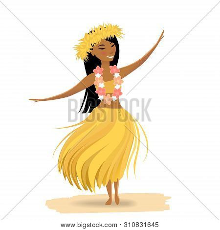 Hawaiian Girl Dancing Hula Isolated On White Background. Cute Polynesian Dancer In Costume, Yellow G