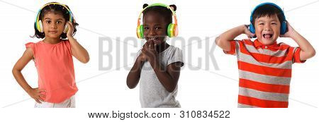 Music And Technology Concept - Set Of Three Multiracial Kids With Headphones Isolated Over White Bac