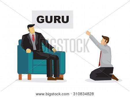 Businessman Worshipping A Business Guru To Become His Mentor. Business Metaphor. Vector Illustration