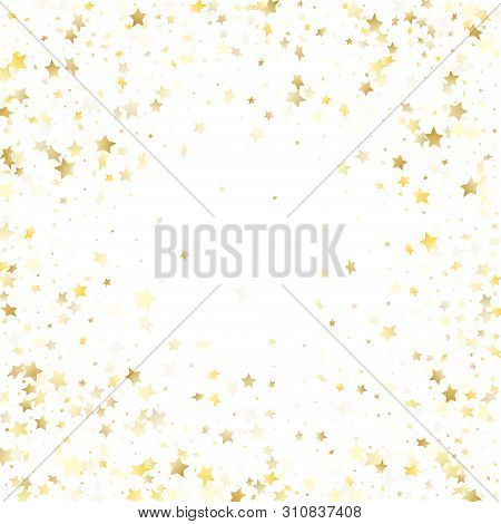 Flying Gold Star Sparkle Vector With White Background. Shiny Gold Gradient Christmas Sparkles Glitte